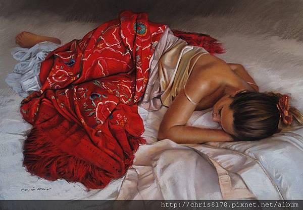 11462_German Aracil_20181146203_紅色披巾I_El Manton Rojo_粉彩畫 Pastel over Canson paper_110x75cm_sm_2017.jpeg