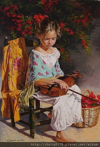 11462_German Aracil_20181146205_女孩與小提琴 La niña del Violin_粉彩畫 Pastel over Canson paper_62x90cm_sm_2017.JPG