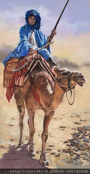 11462_German Aracil_20181146206_沙漠中的騎士_Man of the desert_粉彩畫 Pastel over Canson paper_60x110cm_sm_2017.JPG