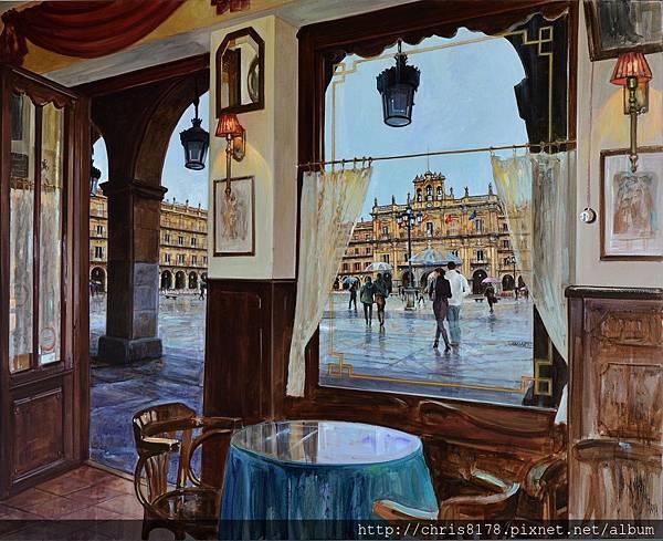 11454_Antonio Varas de la Rosa_20181145401_廣場上的咖啡館_Cafe a la plaza_油畫 oil on panel_100x80cm_sm_2017.jpg