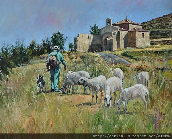 11454_Antonio Varas de la Rosa_20181145405_牧羊人與修道院_El pastor y la ermita_油畫 oil on panel_50x40cm_sm_2017.JPG