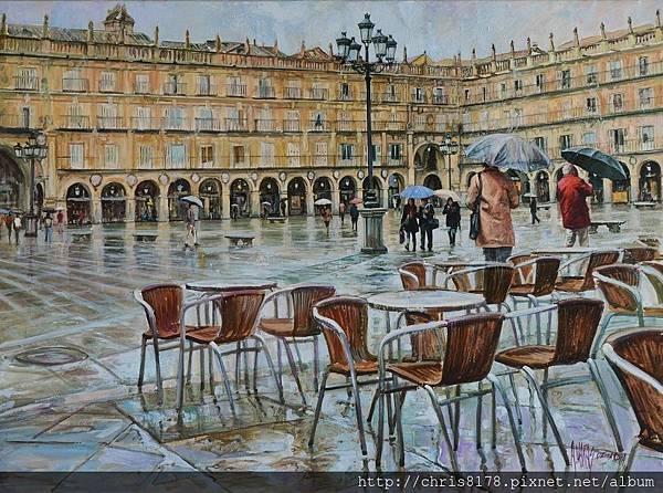 11454_Antonio Varas de la Rosa_20181145407_雨中的廣場_Lluvia en la plaza_油畫 oil on canvas_100x73cm_sm_2017.JPG