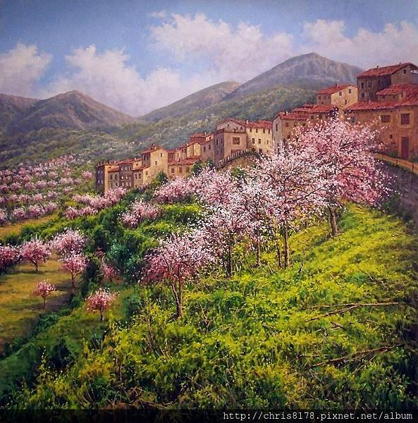 11468_Joan Coloma_20181146801_阿爾科萊哈茂盛的杏樹 Almendros en flor en Alcoleja_Alicante_油畫 oil on canvas_80x80cm_sm_2017.jpg