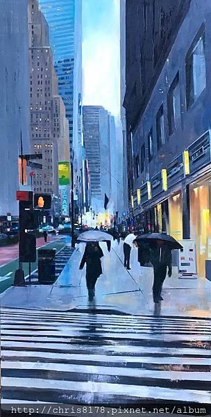11456_Cristobal Perez Garcia_20181145604_紐約時代廣場的雨景 Lloviendo en Times Square_油畫 Oil on panel_100x195cm_sm_2016.jpg