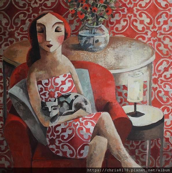2019-11457-02_狄迪耶·魯倫索 Didier Lourenço_小憩_Late siesta_油畫 oil on canvas_100x100cm_50正方_sm_2017.JPG