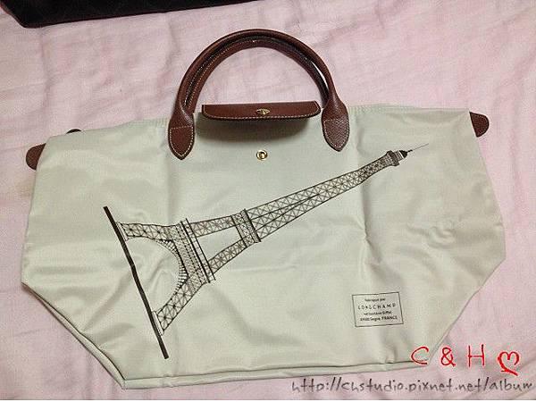 【現貨特賣】Longchamp 巴黎鐵塔紀念款拉鍊摺疊短把購物包- 短帶中包