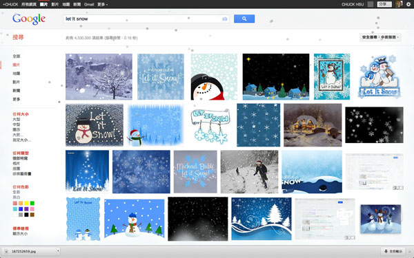 Google搜尋列上面輸入『let it snow』(let it snow).jpg