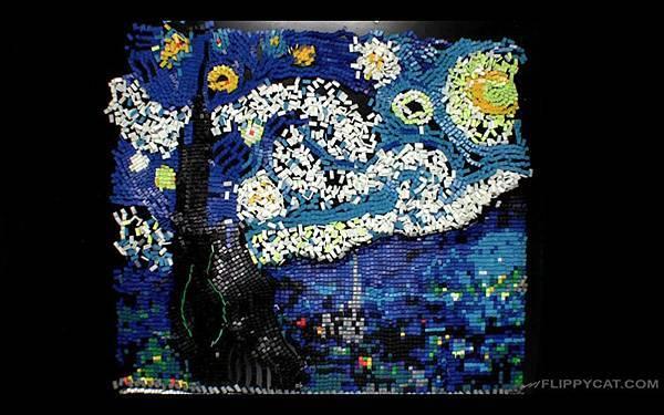 7000個骨牌排出梵谷名畫星夜(Starry Night)_008