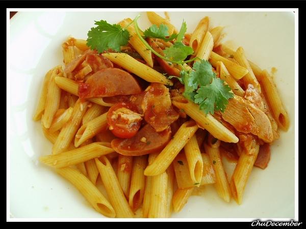 茄汁燻肉總匯斜管麵
