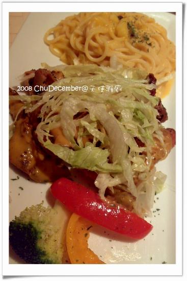 法式芥末雞排+南瓜義大利麵