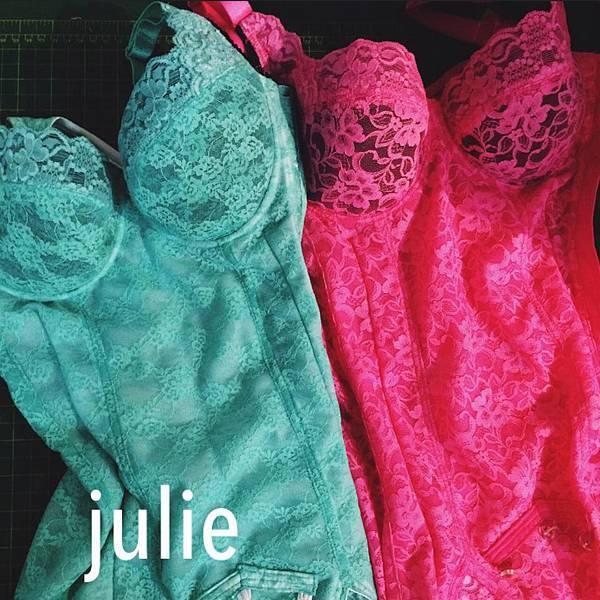 茱莉手工內衣手工塑身衣 桃綠