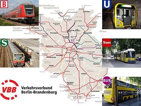 圖1 柏林的大眾運輸,主要由五種運輸工具所組成,由VBB受各政府委託統一規劃與管理