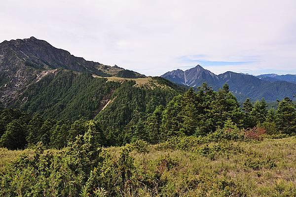 左邊山頭是南湖大山、中間偏右的是中央尖山