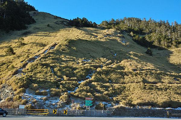 山坡上也是有多處結冰的現象...