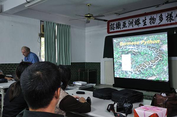 Bob的演講中涵蓋了金門的緬甸蟒...