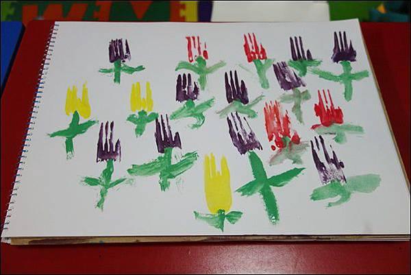 叉子印畫鬱金香 (2)
