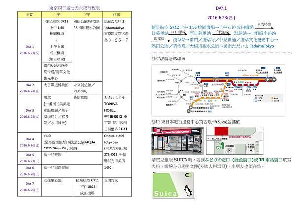 東京親子遊行程表-1