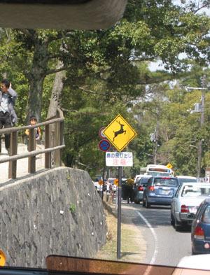 靠近奈良公園了~~>w<//// 鹿告示牌