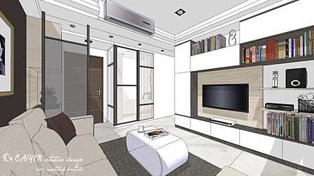 中部設計  居家裝潢 室內設計 天花板裝潢 鋁框門設計 (5).jpg