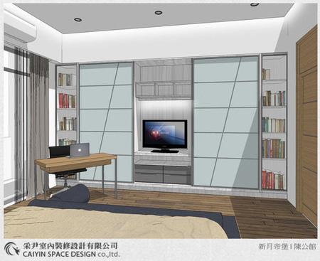 Sketch up設計 系統櫃 電視牆設計 鋁框推拉門設計 (2)