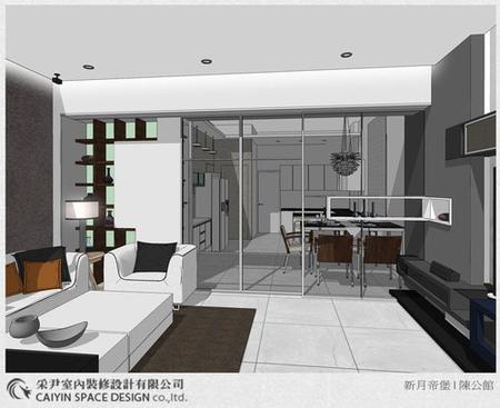 Sketch up設計 系統櫃 電視牆設計 鋁框推拉門設計 (1)