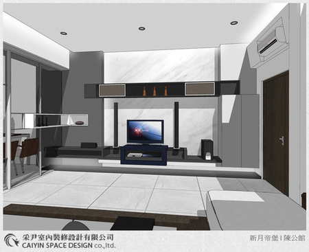 Sketch up設計 系統櫃 電視牆設計 鋁框推拉門設計 (4)