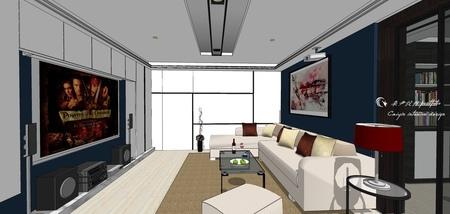 台中舊屋改造翻新 客廳空間電視牆收納櫃設計.jpg