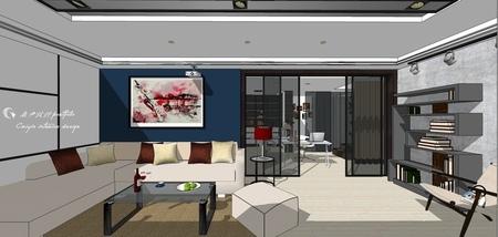 台中舊屋改造翻新 客廳空間收納展示系統層板櫃設計.jpg