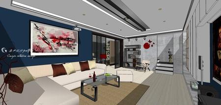 台中舊屋改造翻新 客廳空間電視牆系統收納櫃設計.jpg