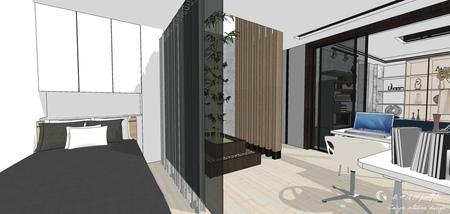 台中舊屋改造翻新 臥室空間床頭造型系統收納櫃設計.jpg