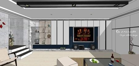 台中舊屋改造翻新 客廳空間電視牆造型系統櫃收納櫃設計.jpg