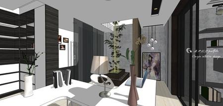 台中舊屋翻新改造 書房空間造型系統櫃設計.jpg