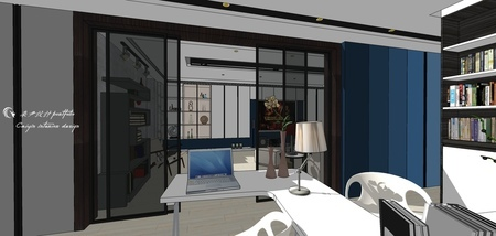 台中舊屋改造翻新 書房空間收納系統櫃設計.jpg