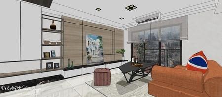 情定水蓮 英式工業風 客廳空間系統電視櫃設計.jpg