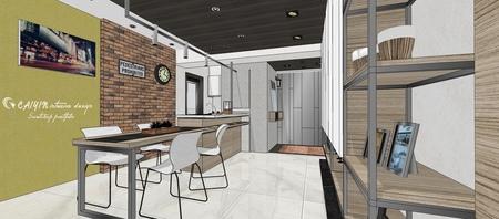 情定水蓮 英式工業風 餐廳空間系統收納吧台櫃設計.jpg