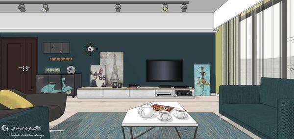 台中老屋改造 客廳空間電視牆系統電視櫃設計.jpg