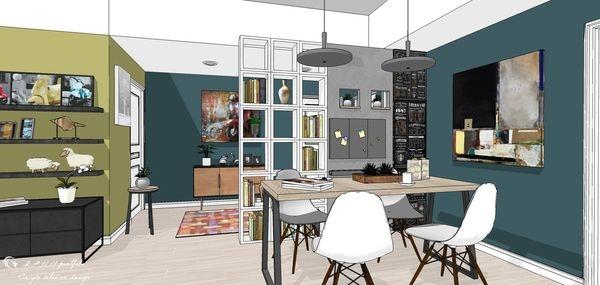 台中老屋改造 餐廳空間收納展示系統櫃設計.jpg