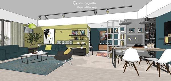 台中老屋改造 客廳空間沙發背牆造型系統層板櫃設計.jpg