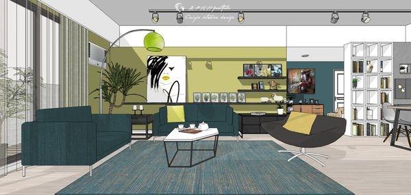 台中老屋改造 客廳空間沙發背牆造型系統層板櫃設計2.jpg