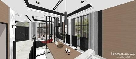 台中室內設計 現代禪風 餐廳空間系統收納吧台櫃設計 (2).jpg