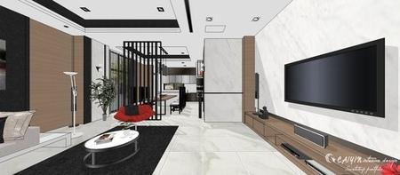 台中室內設計 現代禪風 客廳空間系統電視櫃設計.jpg