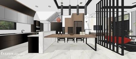 台中室內設計 現代禪風 餐廳空間系統收納吧台櫃設計.jpg