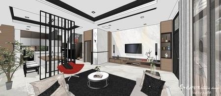 台中室內設計 現代禪風 客廳空間電視牆電視收納電器系統櫃設計.jpg