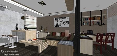 台中住宅設計 現代禪風 書房空間系統收納吊櫃設計.jpg