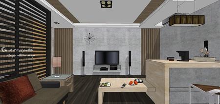 台中住宅設計 現代禪風 客廳空間收納吧台櫃設計.jpg
