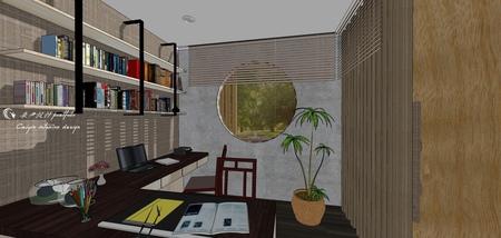 台中住宅設計 現代禪風 書房空間系統收納書桌設計.jpg
