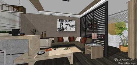 台中住宅設計 現代禪風客廳空間收納矮櫃設計.jpg