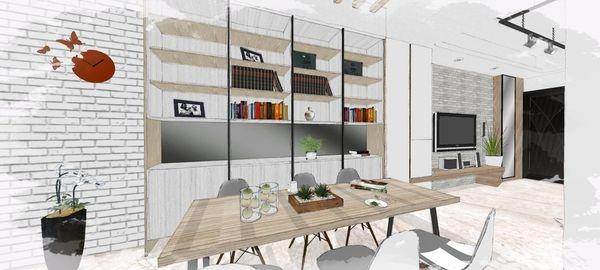 綠建材裝潢 自然人文風格 餐廳空間收納展示系統櫃設計.jpg