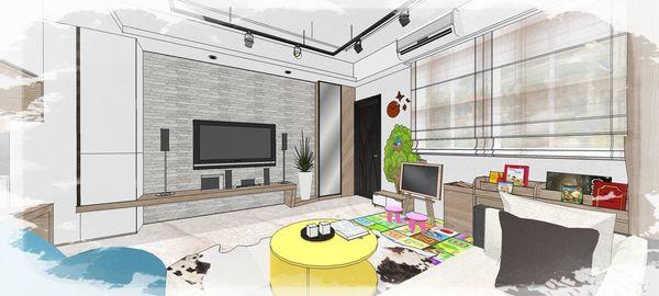 綠建材裝潢 自然人文風格 客廳空間電視牆系統收納櫃設計.jpg