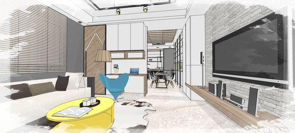 綠建材裝潢 自然人文風格 客廳空間收納展示系統櫃設計.jpg